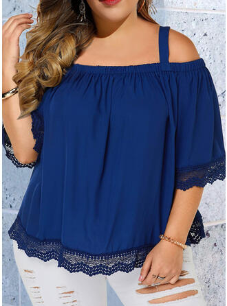 Lace Solid Cold Shoulder 3/4 Sleeves Casual Plus Size Blouses