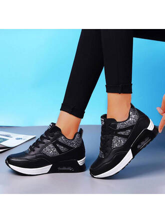 Women's Leatherette Flat Heel Flats Round Toe Sneakers With Sequin Lace-up shoes