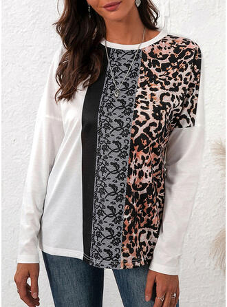 Leopard Patchwork Round Neck Long Sleeves T-shirts