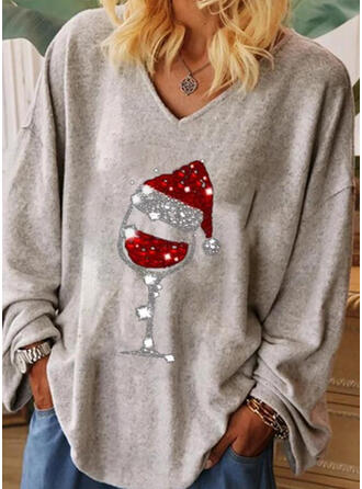 Print Sequins V-Neck Long Sleeves Christmas T-shirts