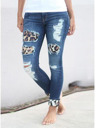 Leopard Denim Cropped Casual Denim & Jeans
