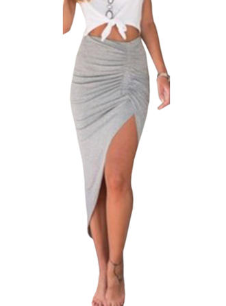 Polyester Cotton Plain Maxi High-Slit Skirts