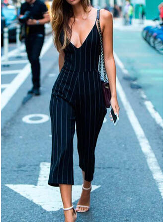 Striped Spaghetti Strap Sleeveless Casual Jumpsuit