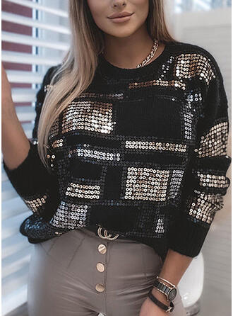 Sequins Round Neck Casual Sweaters