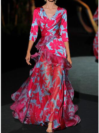 Print/Floral 3/4 Sleeves A-line Skater Party/Elegant Maxi Dresses