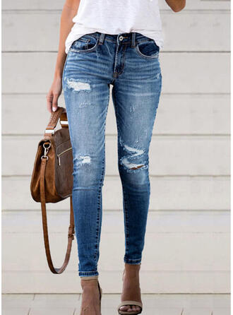 Cotton Denim Long Casual Pocket Ripped Button Pants Denim & Jeans