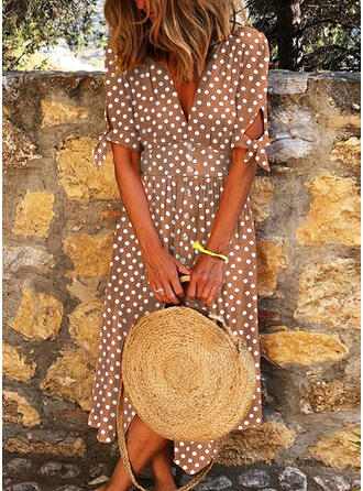 PolkaDot Short Sleeves A-line Skater Casual/Vacation Midi Dresses