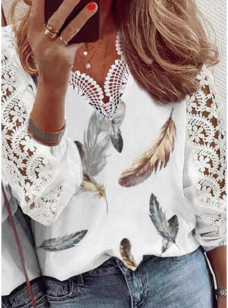 Print Feather Lace V-Neck 3/4 Sleeves Puff Sleeve Casual Blouses