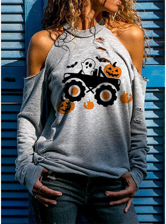 Print Cold Shoulder Long Sleeves Casual Halloween Blouses