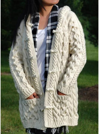 Solid Cable-knit Pocket Hooded Casual Cardigan