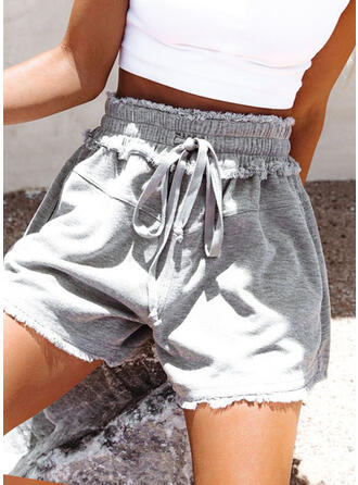 Solid Above Knee Casual Knot Shorts