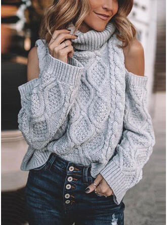 Solid Cable-knit Turtleneck Cold Shoulder Casual Sweaters