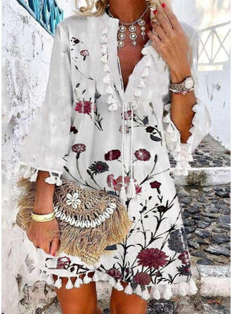 Print/Floral/Tassel 3/4 Sleeves Shift Above Knee Casual/Vacation Tunic Dresses