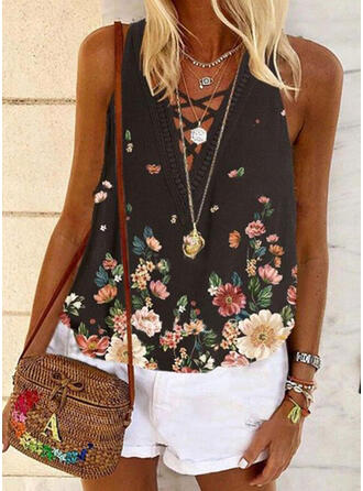 Floral Lace Print V-Neck Sleeveless Tank Tops