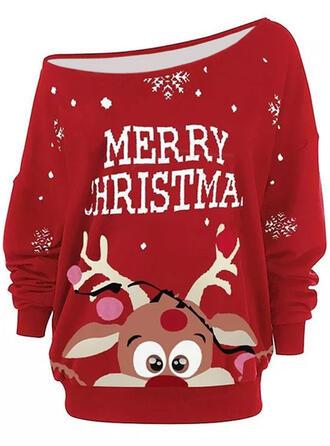Christmas Print Letter Reindeer One Shoulder Long Sleeves Christmas Sweatshirt