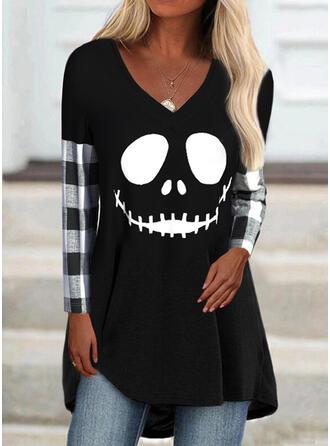 Halloween Plaid Print V-Neck Long Sleeves T-shirts