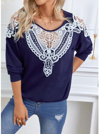 Print Lace Round Neck Long Sleeves Sweatshirt