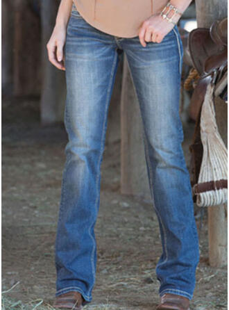 Shirred Plus Size Elegant Plain Denim & Jeans