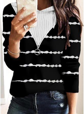Striped Knit Long Sleeves Hoodie