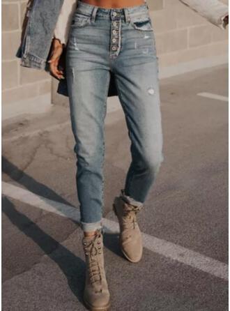 Solid Denim Long Casual Vintage Plus Size Pocket Button Denim & Jeans