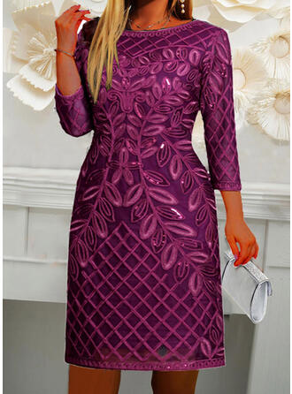 Floral/Solid Long Sleeves Cocoon Above Knee Elegant Dresses