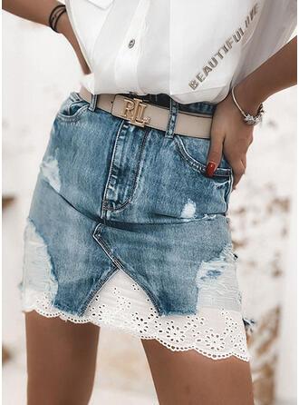 Denim Lace Above Knee Demin Skirts