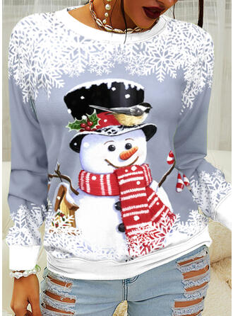 Christmas Snowflake Cartoon Round Neck Long Sleeves Sweatshirt