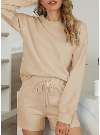 Polyester Cotton Plain Plus Size Round Neck Long Sleeves Pyjama Set