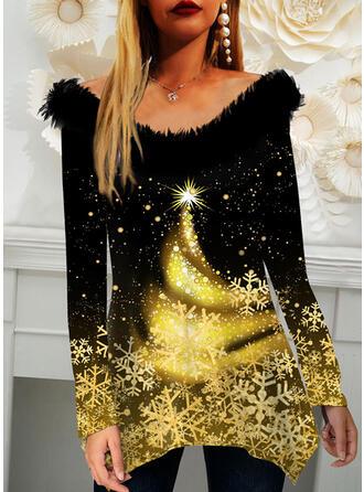 Christmas Star Snowflake Round Neck Long Sleeves T-shirts