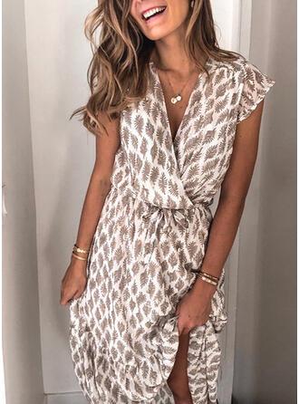 Print Cap Sleeve A-line Wrap/Skater Casual Maxi Dresses