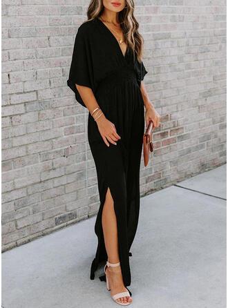 Solid 3/4 Sleeves/Batwing Sleeves Sheath Little Black/Casual/Elegant Maxi Dresses