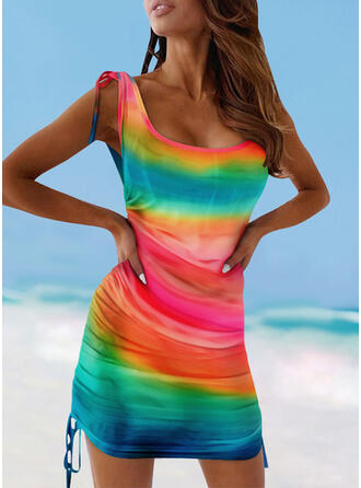 Colorful Drawstring Strap U-Neck Sexy Cover-ups Swimsuits